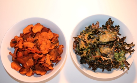 BBQ Sweet Potato Chips and Parmesan Kale Chips,