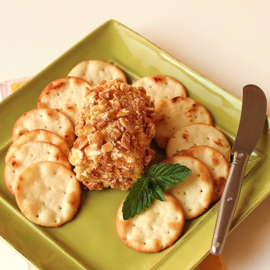 a plate of goat cheese crusted with candied almonds and surrounded by crackers
