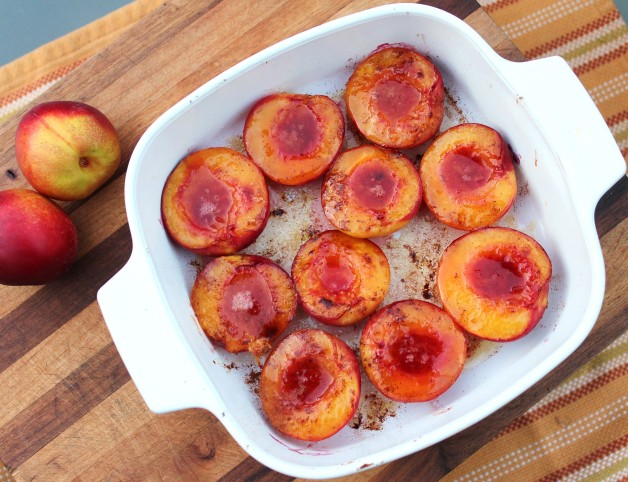 Caramelized Nectarines in a white casserole dish