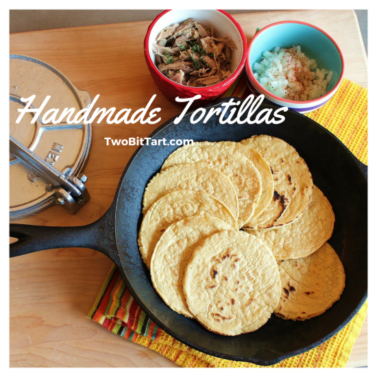 Handmade Corn Tortillas in a Cast Iron Skillet