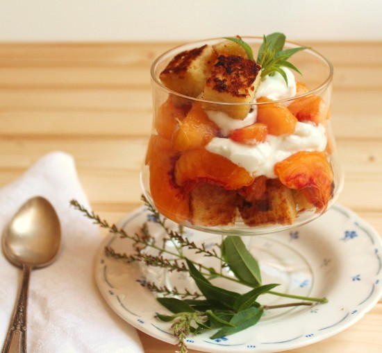 Nectarines in Lemon Verbena Syrup layered with cake croutons and whipped cream