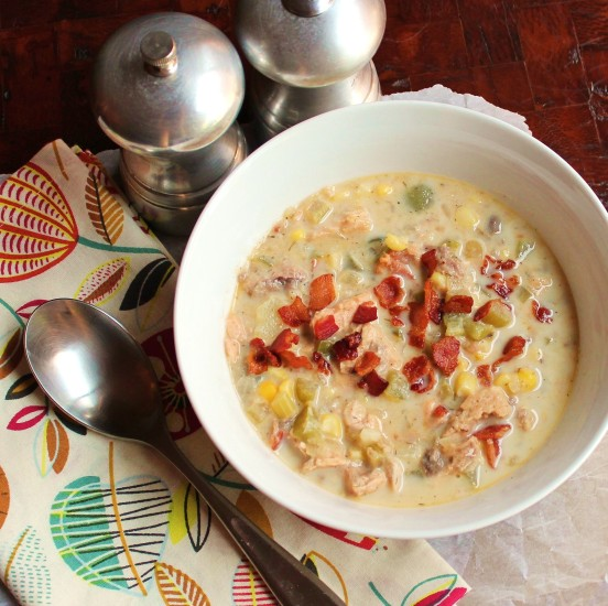 A bowl of Salmon Chowder with Bacon