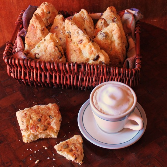 A basket of Bacon, Cheddar, Green Onion Scones