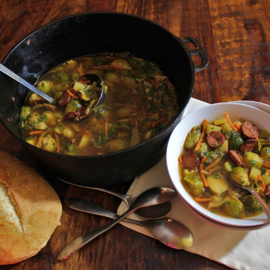 A bowl of hearty Brussels Sprout Soup