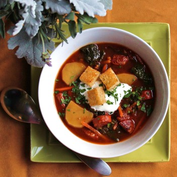 a bowl of Spanish Chorizo and Kale Soup