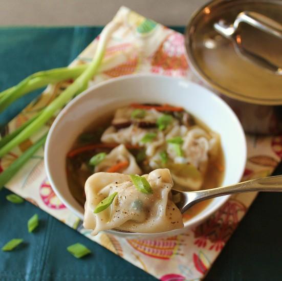 A bowl of Turkey Wonton Soup