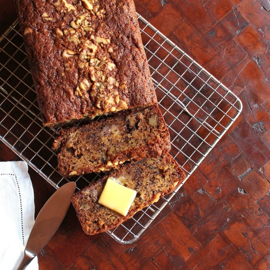 Sliced Banana Bread with melting butter