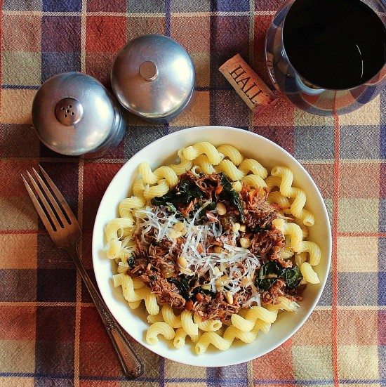 A bowl of Cavatappi with Pork Sugo