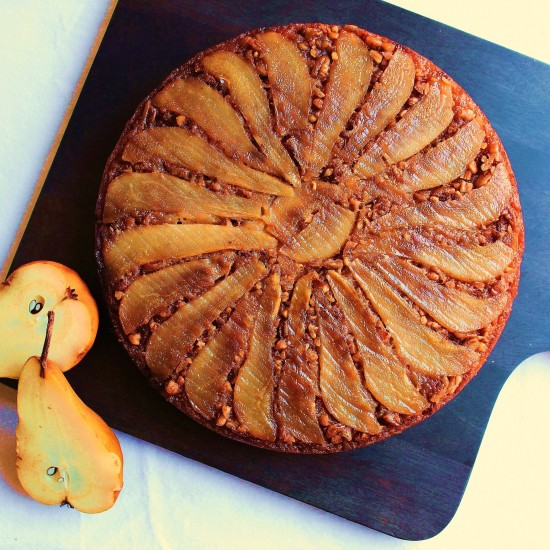 a beautifully decorated pear upside down cake