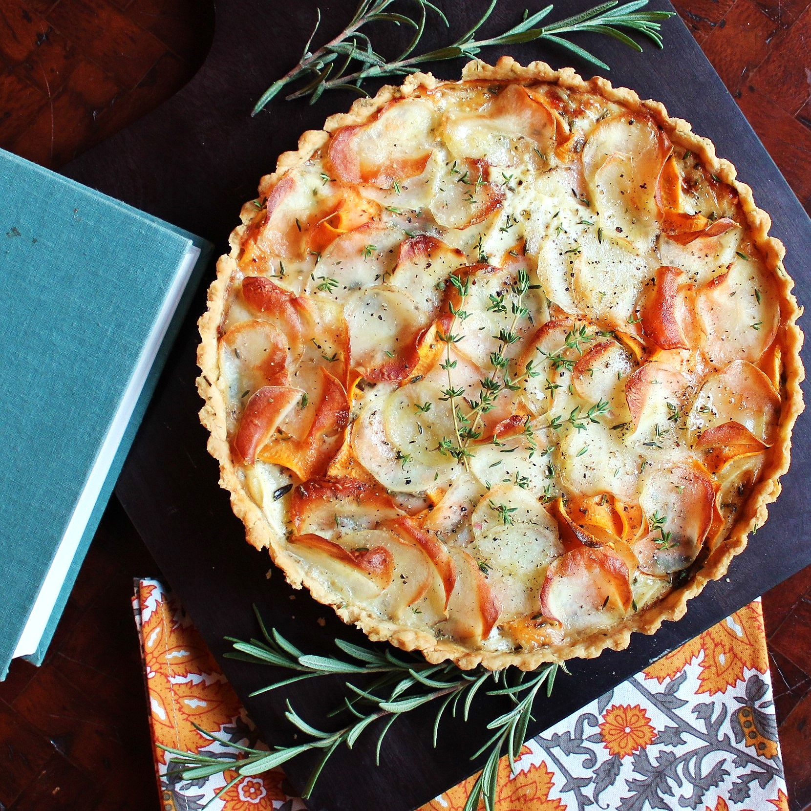 A potato and herb tart