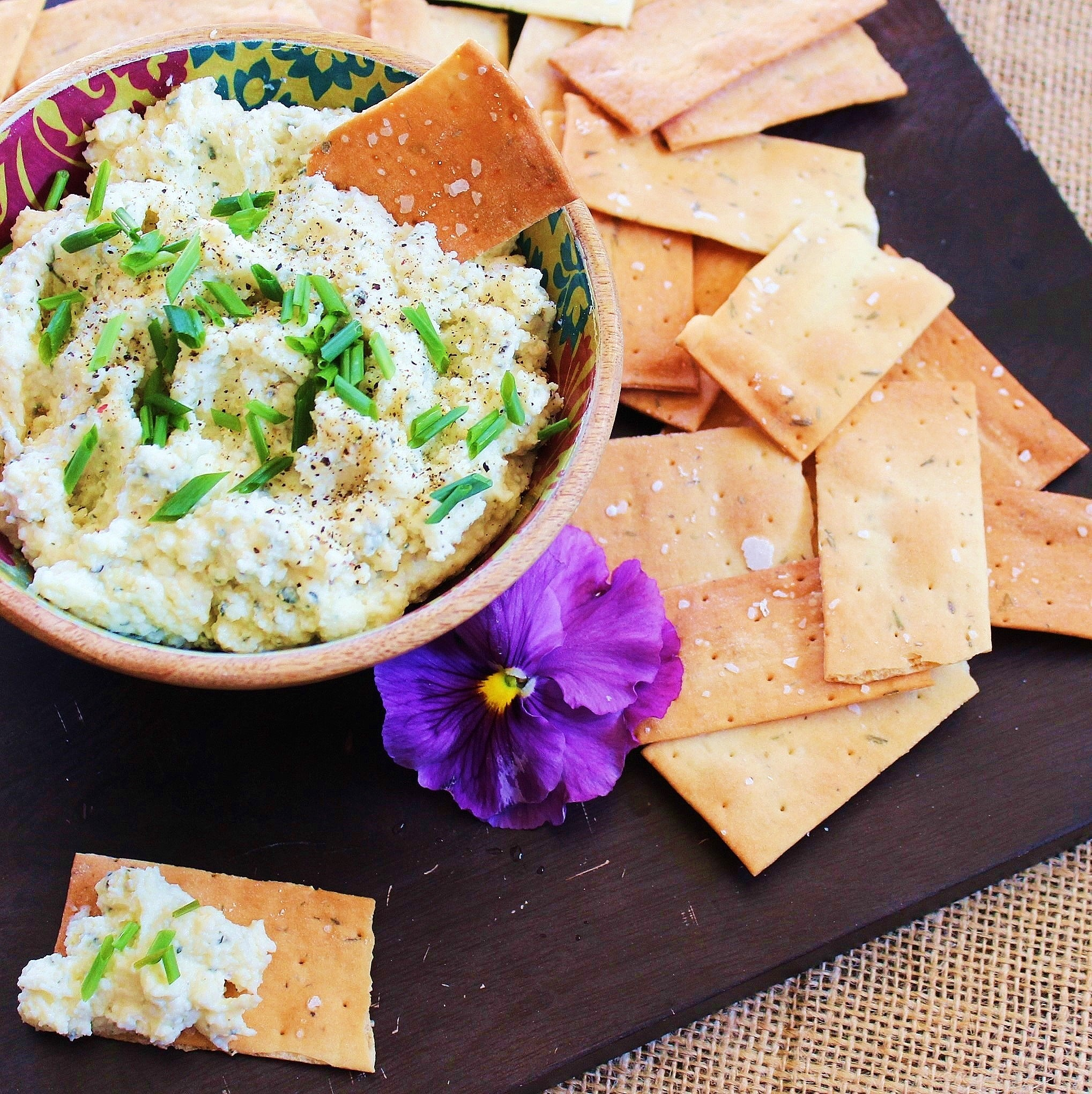 a bowl of fromage fort with chips