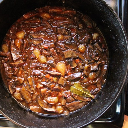 a bubbling pot of mushroom bourguignon
