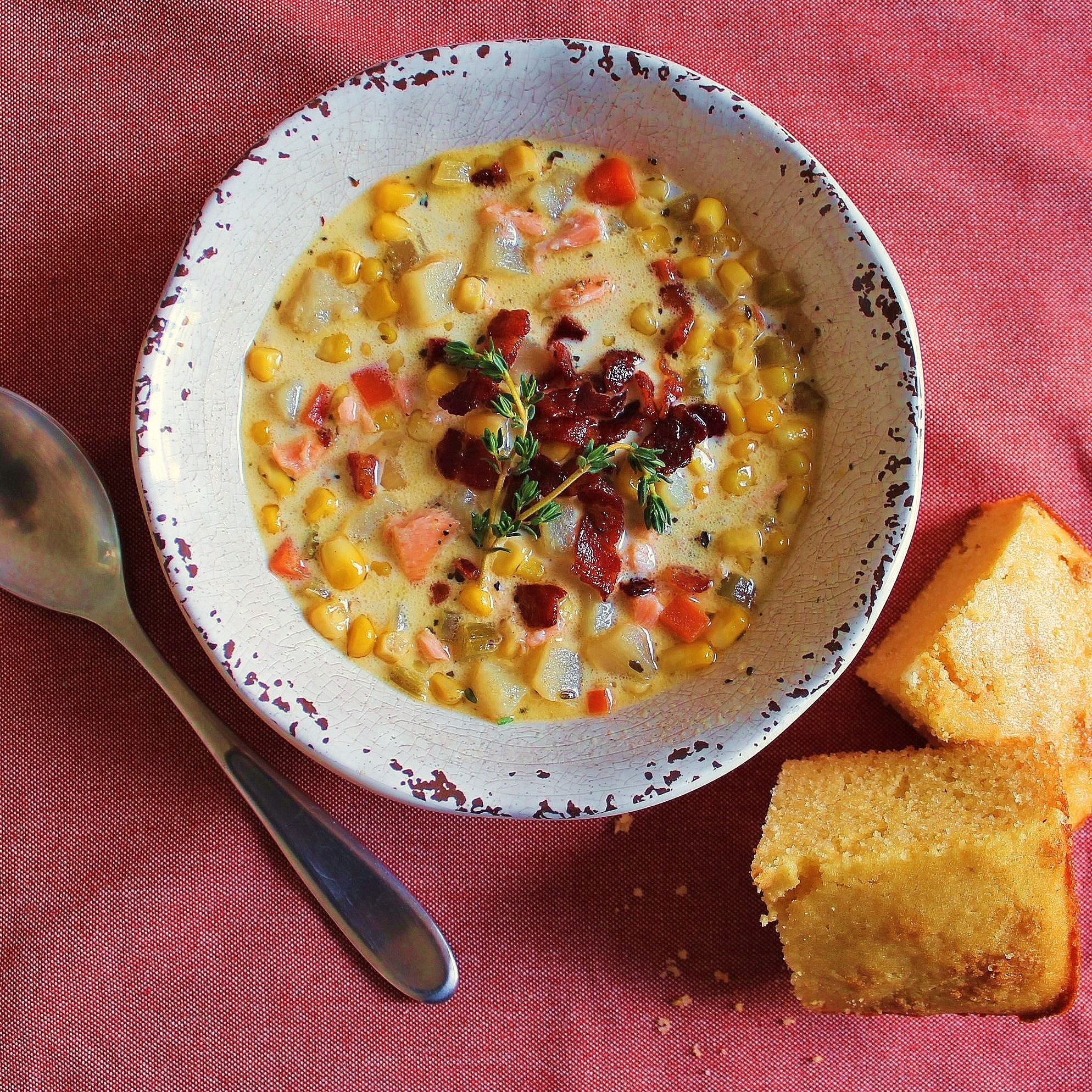 A bowl of Salmon Corn Chowder