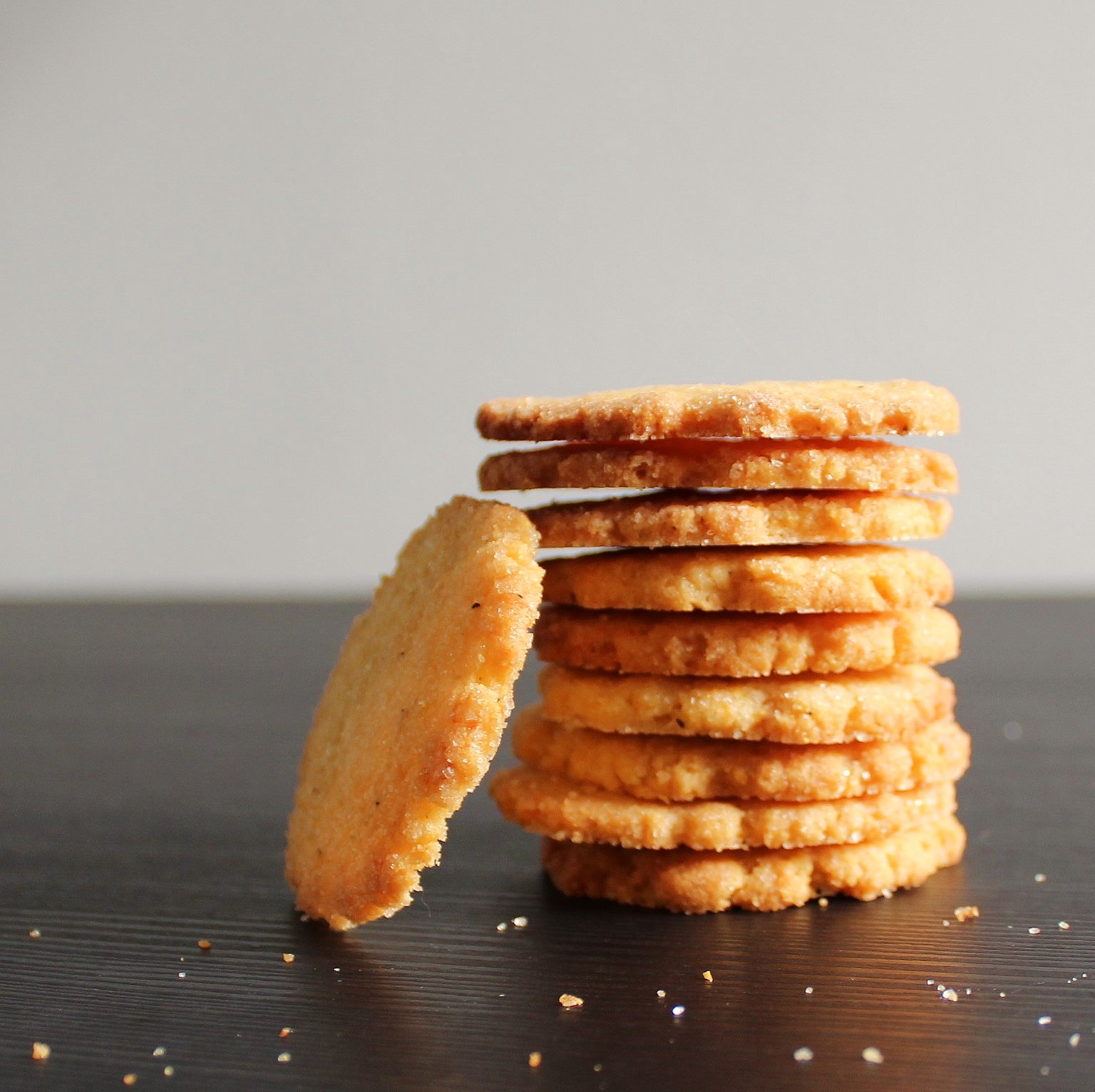 A stack of Lem Ginger Cornmeal Thins