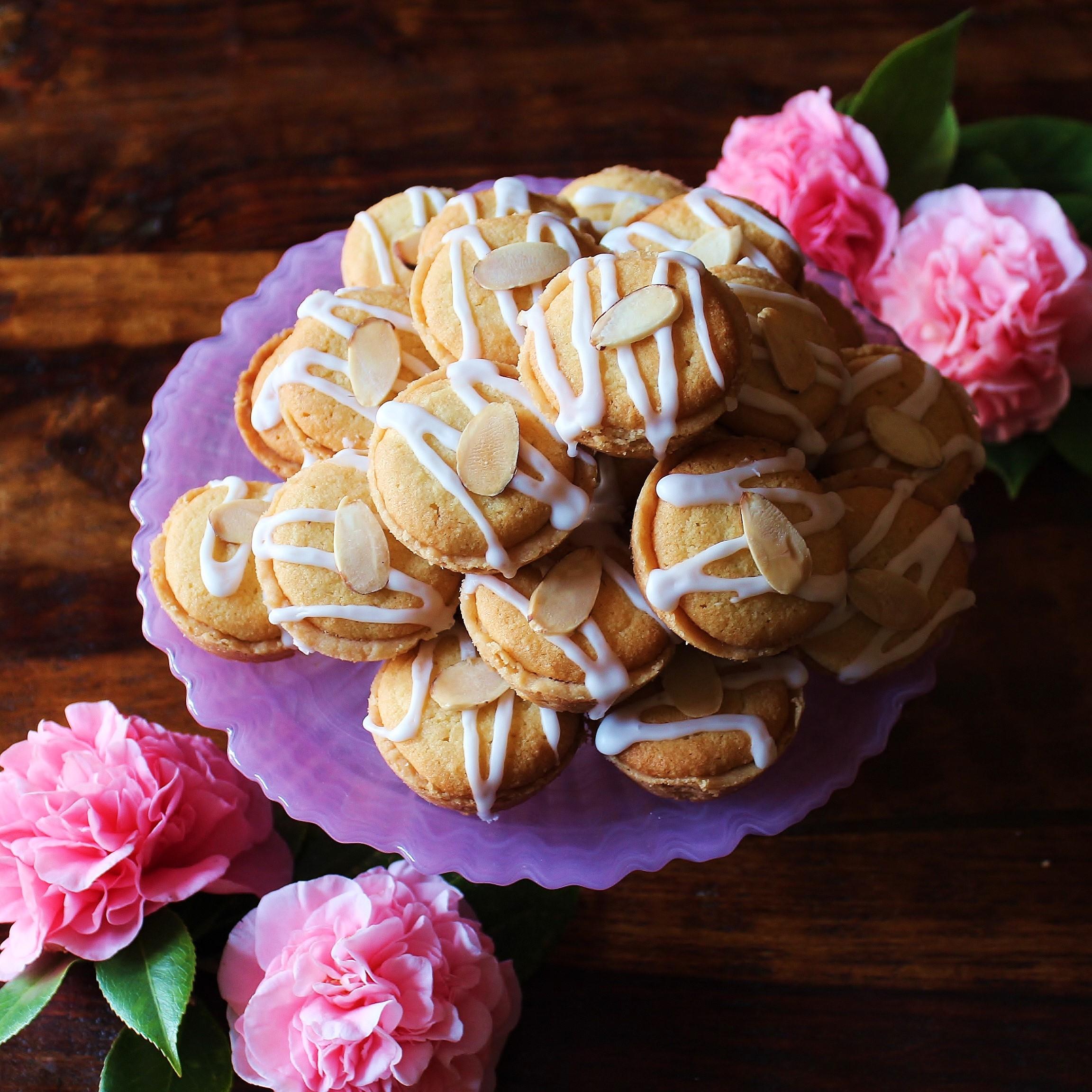 A platter of Raspeberry Bakewell Mini Tarts