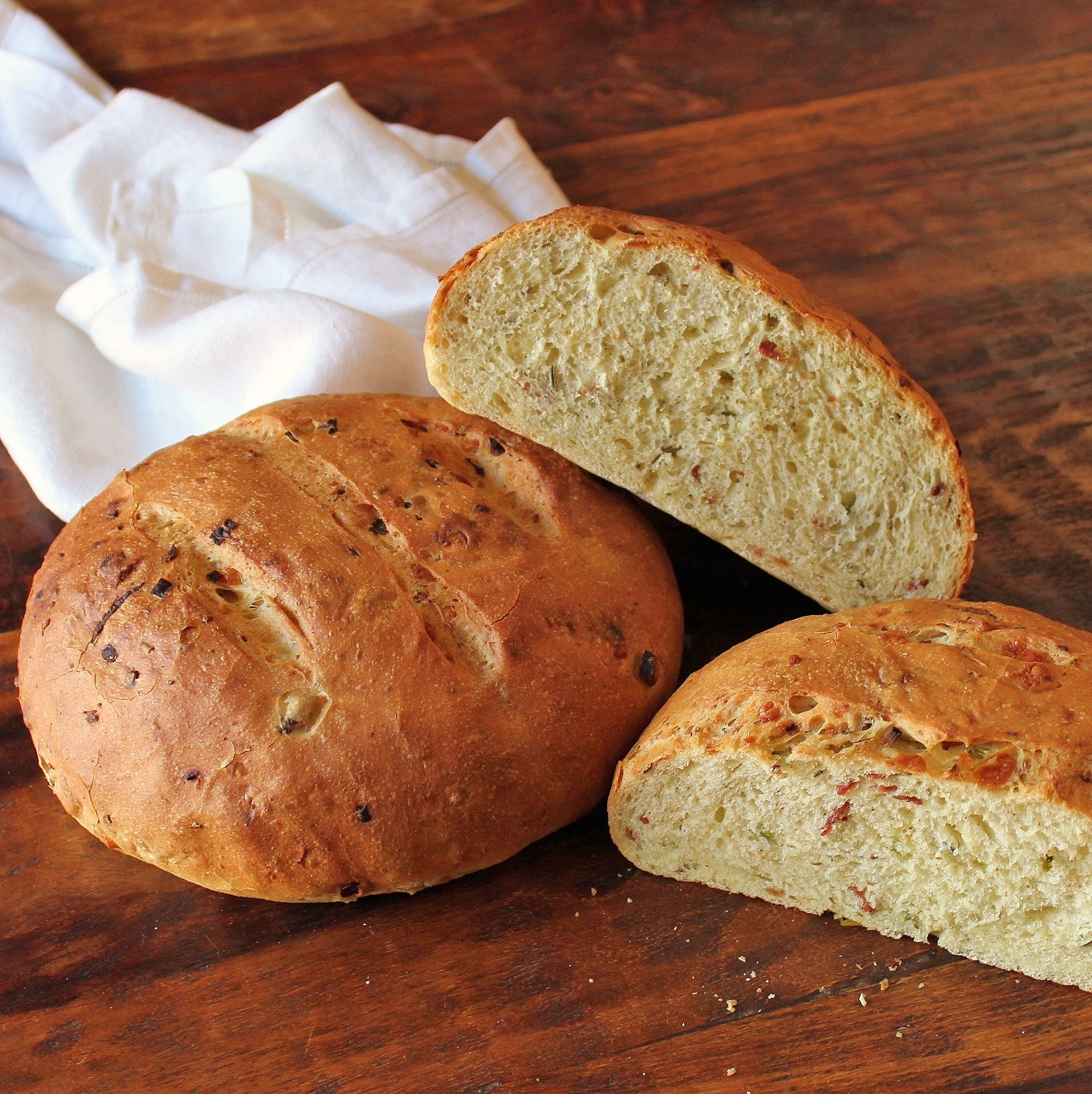 Two Boules of Cheesy Bacon Semolina Bread
