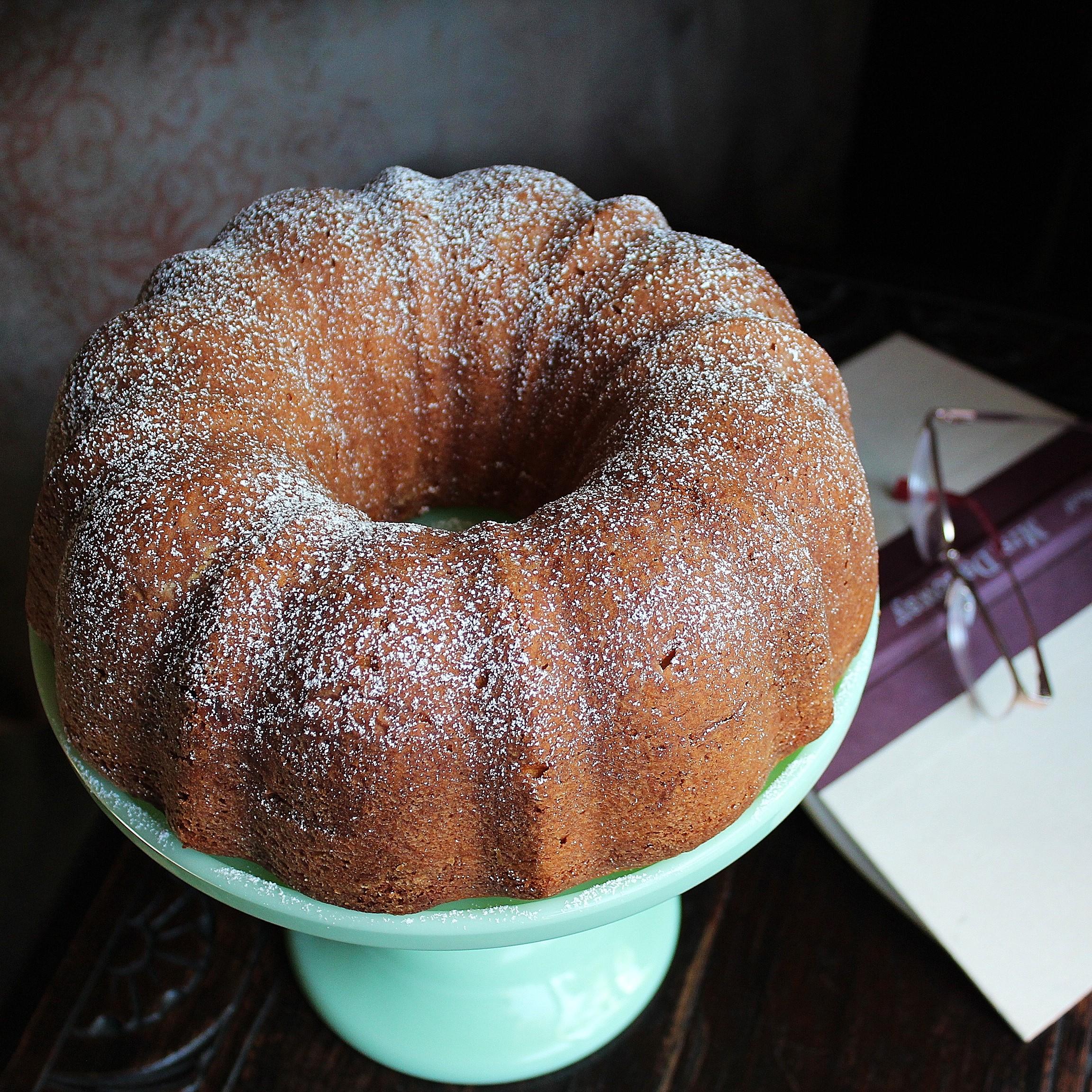 Pound Cake on a cake plate