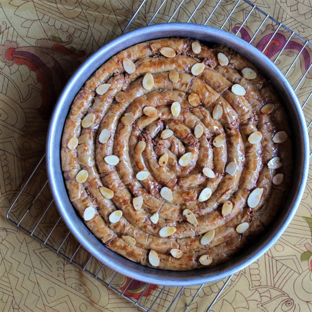 A walnut M'hanncha Snake Cake