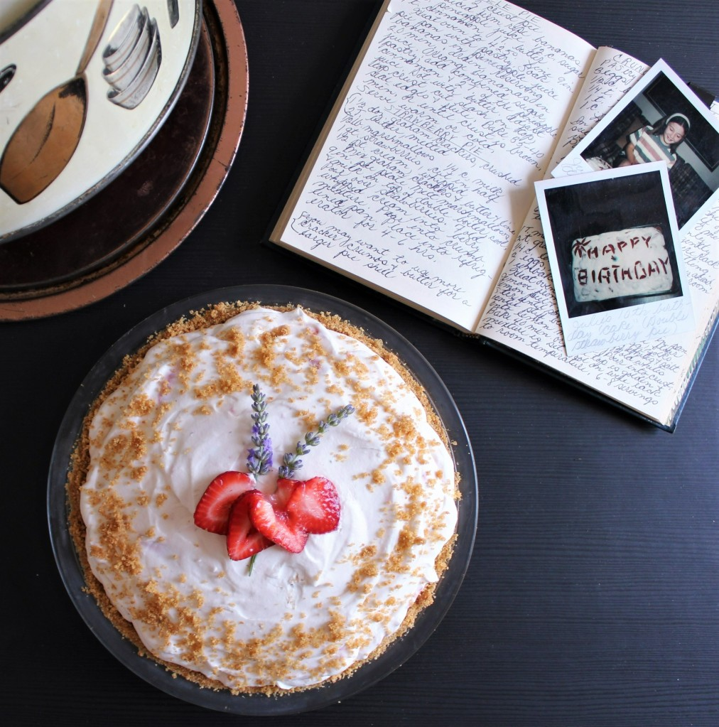 Strawberry pie with recipe and old poloroids